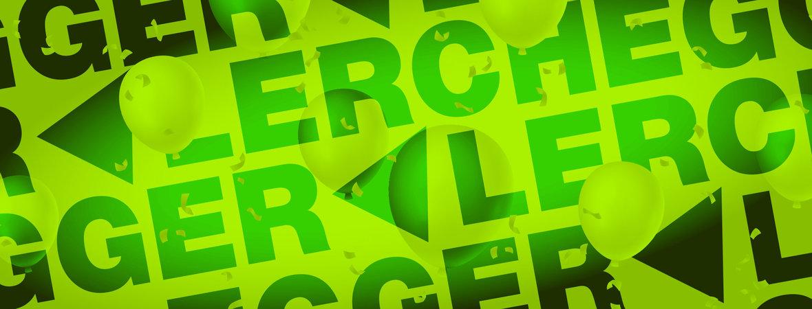 Egger & Lerch Logo in feierlichem Antlitz mit Luftballonen und Lametta