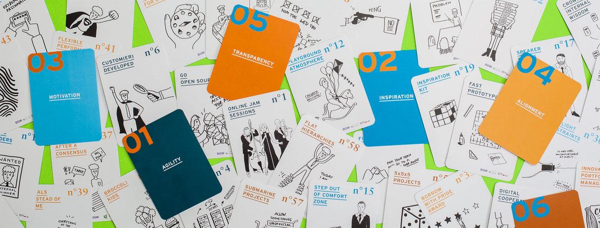 """Karten aus dem Kartenspiel """"Innovationskulturnavigator"""""""