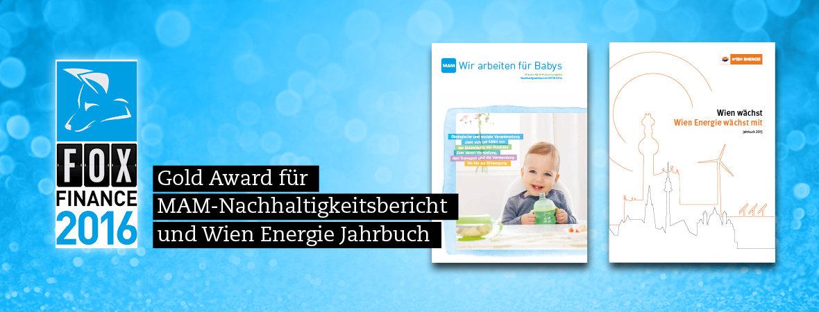 Gold Awards für MAM-Nachhaltigkeitsbericht und Wien Energie Jahrbuch