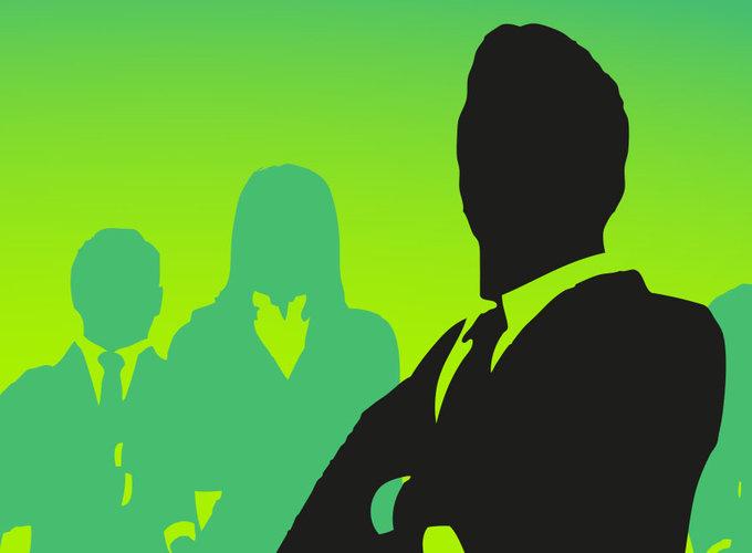 Gruppe von Menschen, CEO im Vordergrund